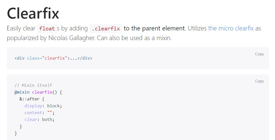 Bootstrap clearfix  main documentation