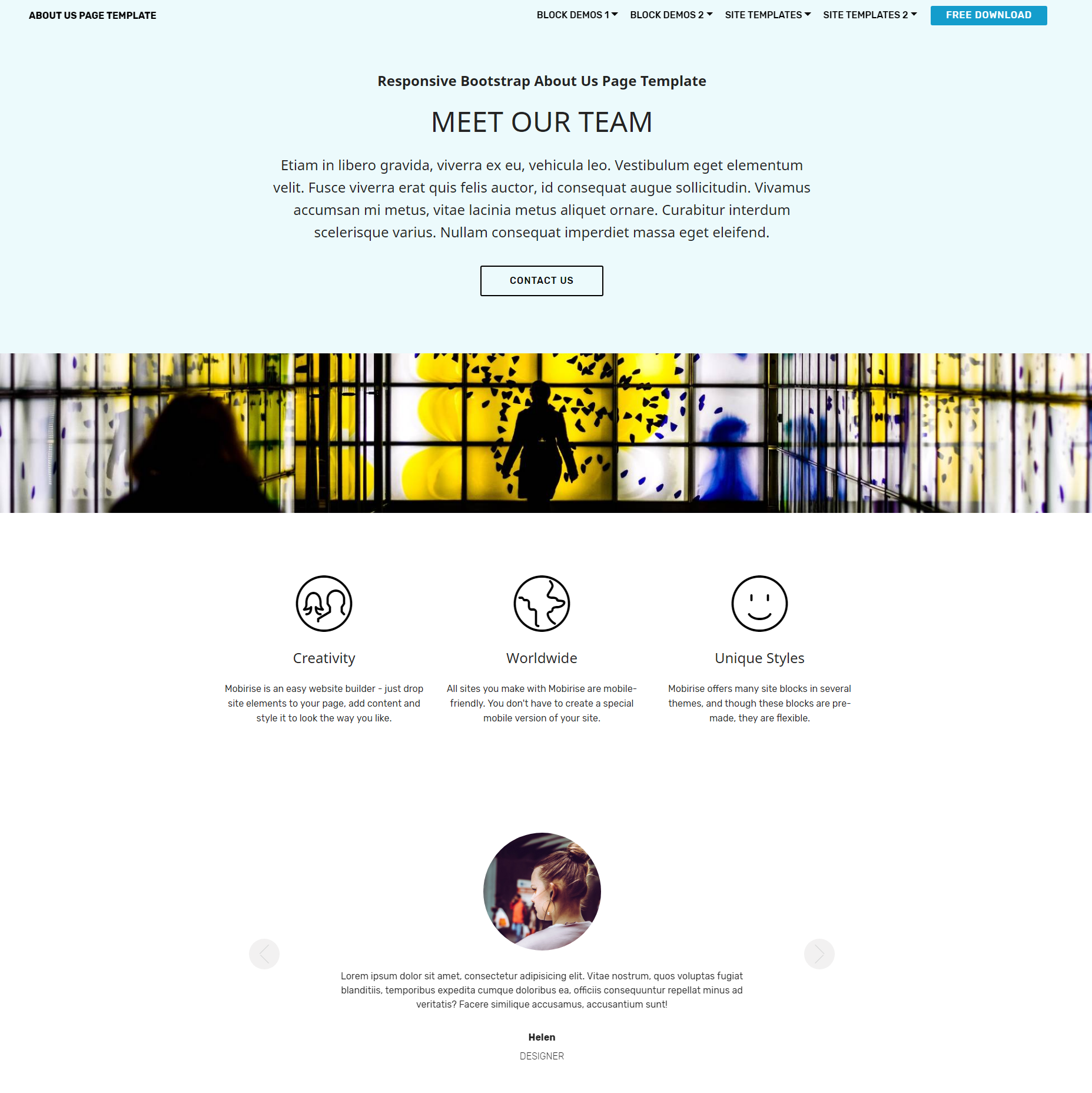 CSS3 Bootstrap  About Us  Templates