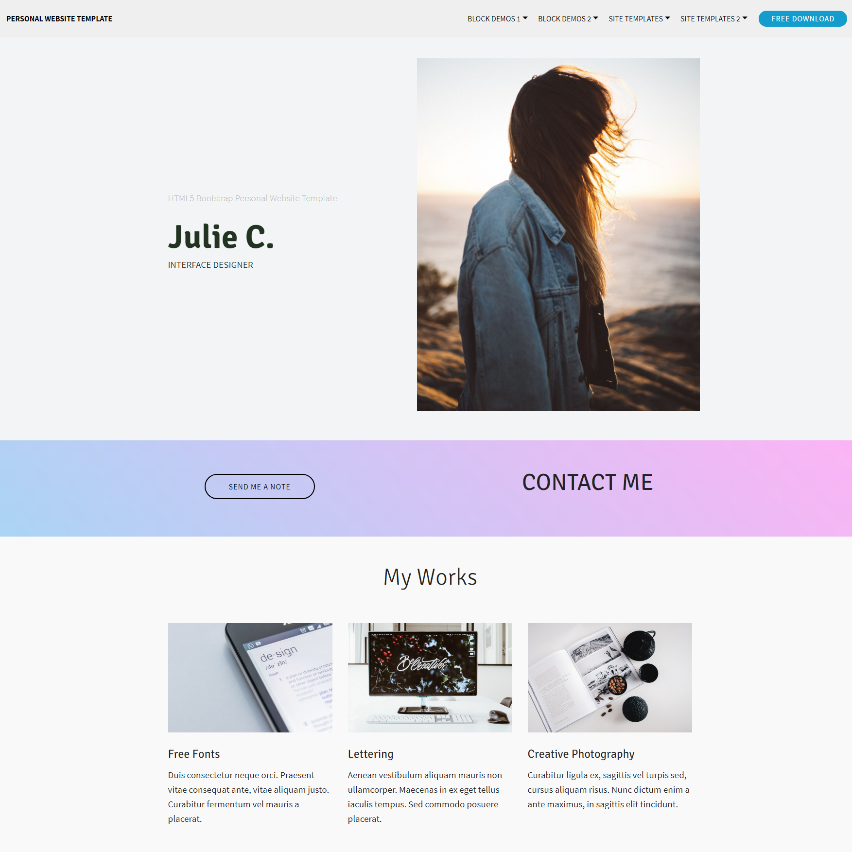 HTML5 Bootstrap Personal Website Templates